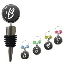 5 Piec Wine Stopper and Wine Charm Set