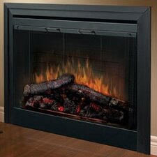 2-Sided Built-in Electric Fireplace with Bifold Glass Door and Trim
