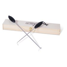 2 Piece Pigtail Food Flipper Combo Set with Wooden Box