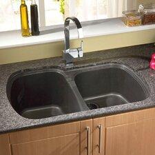 "33"" x 22"" USA Granite ROK Double Bowl Kitchen Sink"