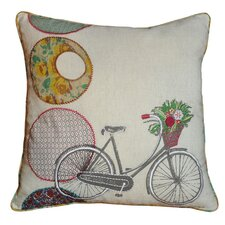 Bicycle Accent Cotton Throw Pillow