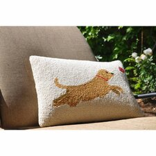 Leaping Dog Wool Throw Pillow