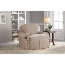 Twill T-Chair T-Cushion Skirted Slipcover