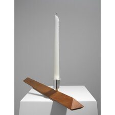 No.3 Cherry Wood, Silver Plated Aluminum Candlestick Holder