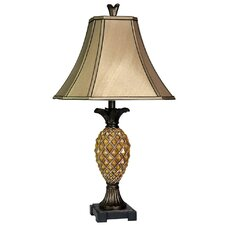 """Classic Pinapple Textured 29"""" H Table Lamp with Bell Shade"""