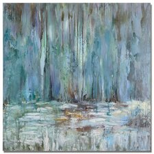 Blue Waterfall by Grce Feyock Original Painting on Wrapped Canvas