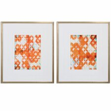 Overlapping Modern 2 Piece Framed Painting Print Set