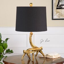 """Golden Antlers 21.5"""" H Table Lamp with Drum Shade"""