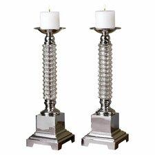 Ardex Mercury Glass Candlestick (Set of 2)
