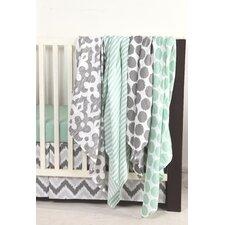 Ikat Dots/Stripes 4 Piece Swaddling Muslin Blanket Set
