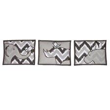 3 Piece Ikat Chevron Safari Hanging Art Set