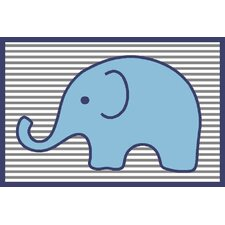 Elephants Blue/Grey Area Rug