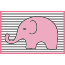 Elephants Pink/Grey Area Rug
