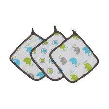 Elephants 3 Piece Muslin Wash Cloth Set