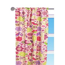 Botanical Purple Floral Cotton Rod Pocket Single Curtain Panel