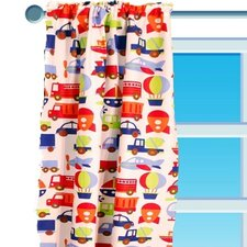 Transportation Cotton Rod Pocket Single Curtain Panel