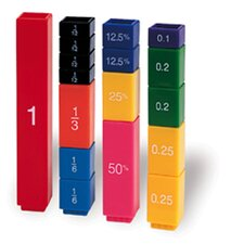 51 Piece Fraction Tower Cubes Fraction Numbers Set