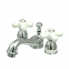 Mini Widespread Bathroom Faucet with Double Porcelain Cross Handles