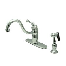 Heritage Singe Handle Centerset Kitchen Faucet with Buckingham Lever Handle and Side Spray