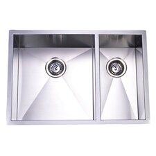"29"" x 20.06"" Towne Square Undermount Offset Double Bowl Kitchen Sink"