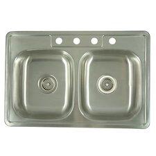 "33.06"" x 22"" x 6"" Carefree Double Bowl Kitchen Sink"