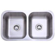 """31.13"""" x 17.88"""" Undermount Double Bowl Kitchen Sink"""