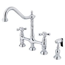 "Heritage 8"" Spread Deck Mount Double Handle Widespread Kitchen Faucet with Metal Cross Handles"