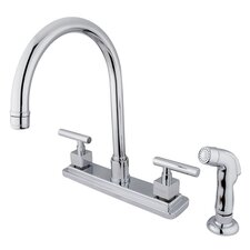 Rio Double Handle Kitchen Faucet with Matching Finish Plastic Sprayer