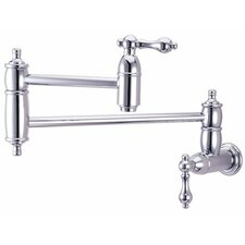 Decorative Double Handle Wall Mount Pot Filler Faucet