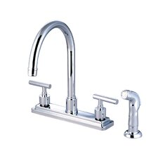 Sydney Double Handle Centerset Kitchen Faucet with Non-Metallic Sprayer