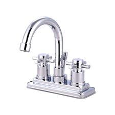 South Beach Double Cross Handle Centerset Bathroom Faucet with Brass Pop-Up