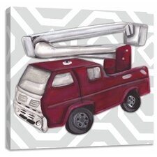 Transportation Vintage Fire Truck Toy Canvas Art