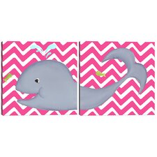 Sea Creatures Wendy Whale Diptych Canvas Art