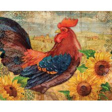 Roosters with Sunflowers by Paul Brent Non-Slip Flexible Cutting Board