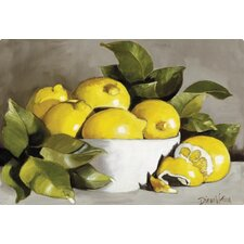 Lemons in a White Bowl by Diana Watson Non-Slip Flexible Cutting Board