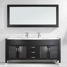 "Ultra Modern Series 71"" Double Bathroom Vanity Set with Mirror"