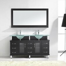 "Rocco 61"" Double Bathroom Vanity Set with Frosted Tempered Glass Top and Mirror"
