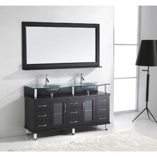"Rocco 61"" Double Bathroom Vanity Set with Tempered Glass Top and Mirror"