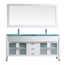 "Ava 71"" Double Bathroom Vanity Set with Tempered Glass Top and Mirror"