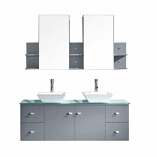 "Ultra Modern 61"" Double Bathroom Vanity Set with White and blue and Mirror"