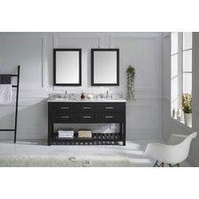 "Caroline Estate 61"" Double Bathroom Vanity Set with Carrara White Stone Top and Mirror"