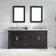 "Victoria 72"" Double Bathroom Vanity Set with Carrara White Stone Top and Mirror"