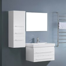 "Antonio 29.2"" Single Bathroom Vanity Set with White and Mirror"
