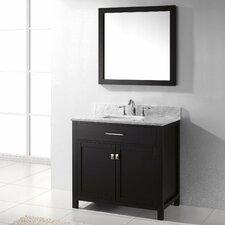 "Caroline 36"" Single Bathroom Vanity Set with Carrara White Stone Top and Mirror"