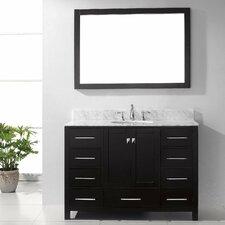 "Caroline Avenue 49"" Single Bathroom Vanity Set with Carrara White Stone Top and Mirror"