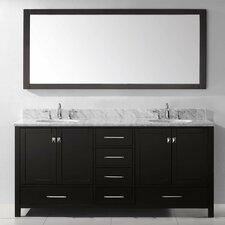 "Caroline Avenue 73"" Double Bathroom Vanity Set with Carrara White Stone Top and Mirror"