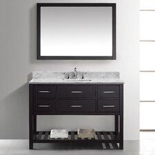 "Caroline Estate 48"" Single Bathroom Vanity Set with Carrara White Stone Top and Mirror"