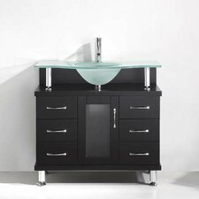 "Vincente 36"" Single Bathroom Vanity Set with Frosted Tempered Glass Top"