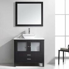 "Brentford 36"" Single Bathroom Vanity Set with White Stone Top and Mirror"