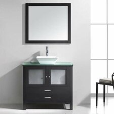 "Brentford 36"" Single Bathroom Vanity Set with Glass Top and Mirror"